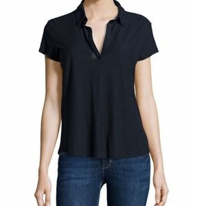James Perse split neck polo shirt top 2 XS/S